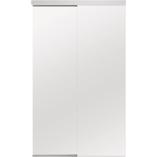 Colonial Elegance Classic 72 In. W x 80-1/2 In. H White Frameless Mirrored Sliding Bypass Door
