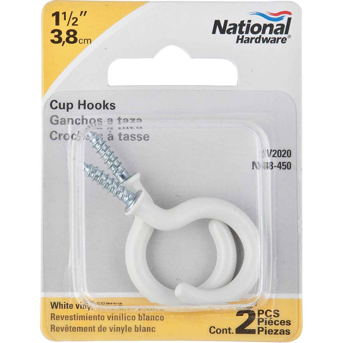 National 1-1/2 In. White Vinyl Cup Hook (2 Count) Image 2