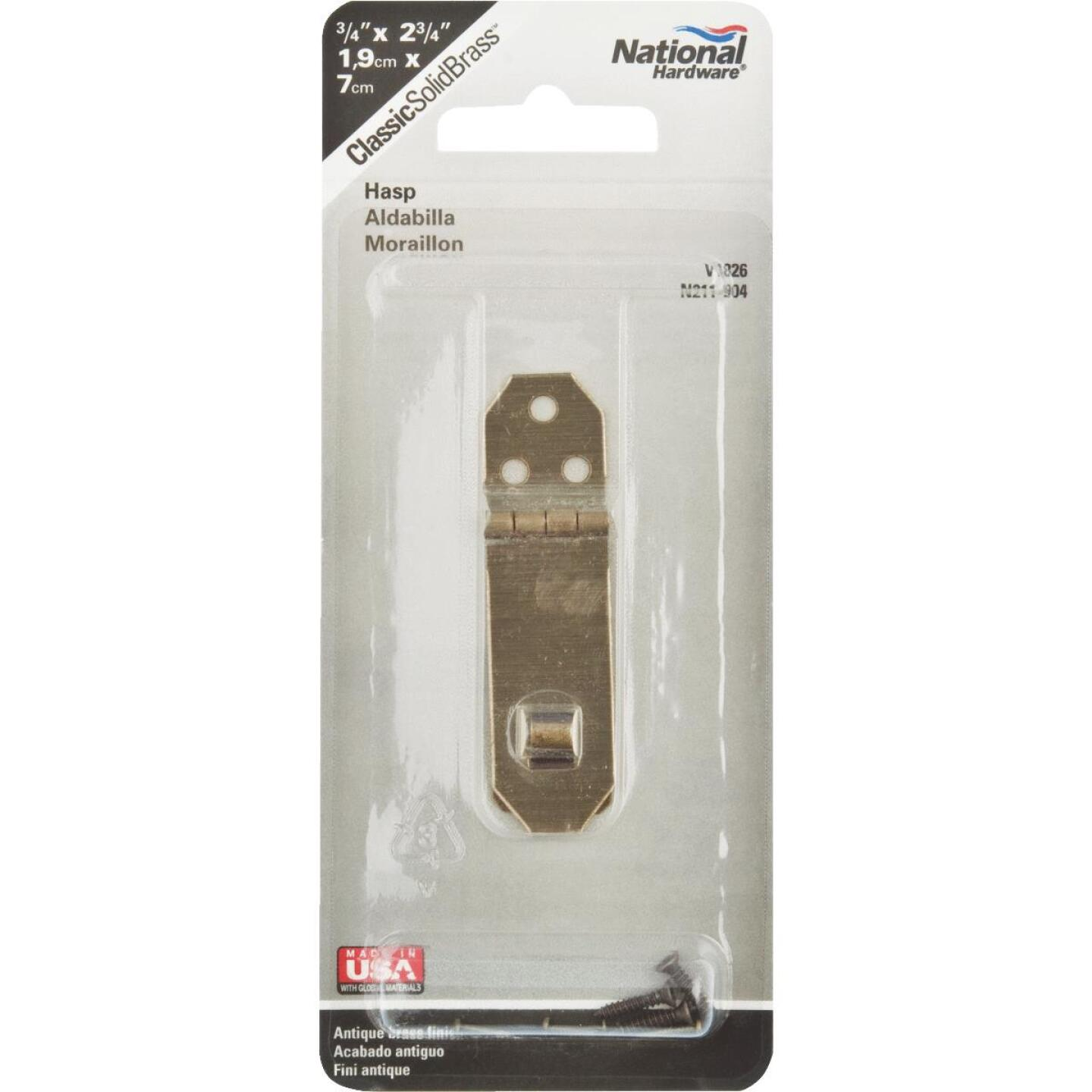 National 3/4 In. x 2-3/4 In. Antique Brass 3-Hole Decorative Hasp Image 2
