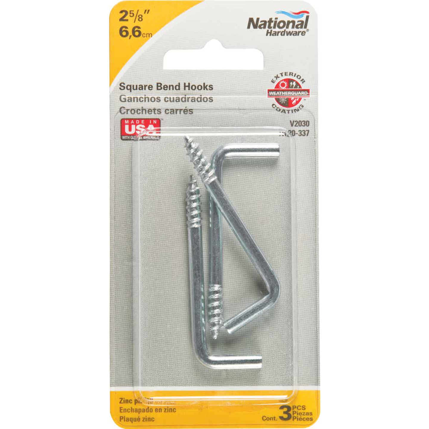 National 2030 Series #106 Square Bend Screw Hook Shoulder Hook (3 Count) Image 2