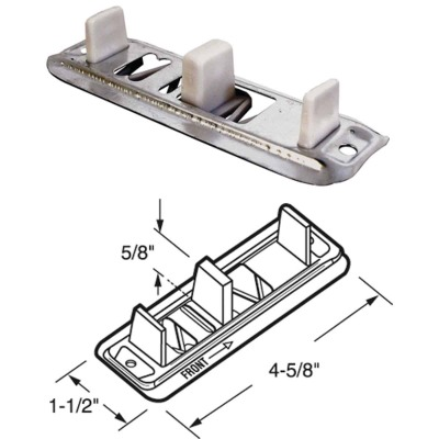 Prime-Line Adjustable Steel Base Bypass Door Bottom Guide (2 Count)