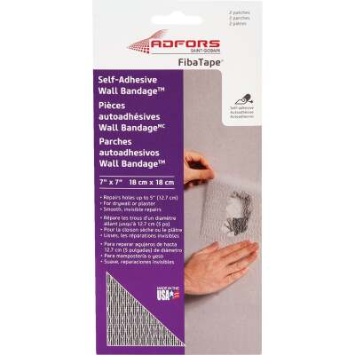 FibaTape Wall Bandage 7 In. x 7 In. Self-Adhesive Drywall Patch (2-Pack)