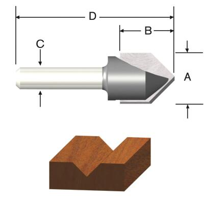 Vermont American Carbide Tip 90 Degree V-Groove Bit