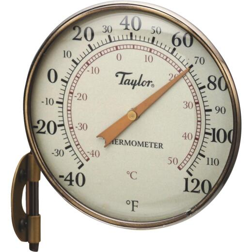 """Taylor 4.25"""" Dia Anodized Aluminum Dial Indoor & Outdoor Thermometer"""