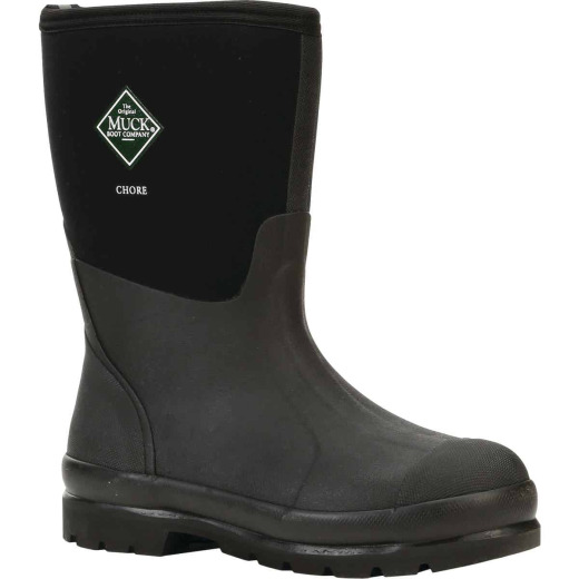 Muck Chore Mid Men's Size 10 Black Rubber Work Boot
