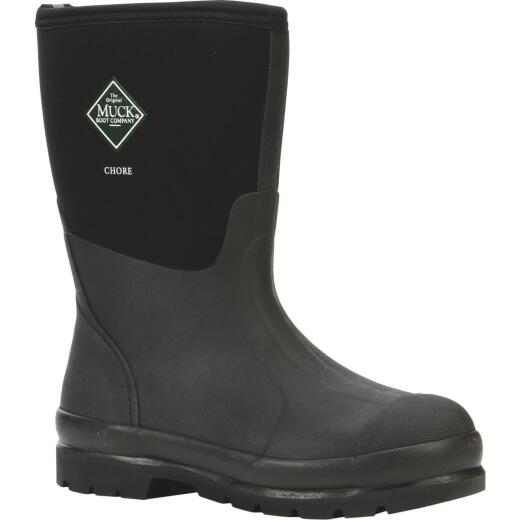 Muck Chore Mid Men's Size 12 Black Rubber Work Boot