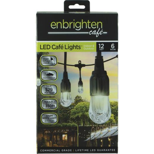 Enbrighten 12 Ft. 6-Light Warm White Clear Bulb Cafe String Lights